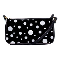 White On Black Polka Dot Pattern Shoulder Clutch Bags by LoolyElzayat