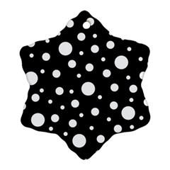 White On Black Polka Dot Pattern Snowflake Ornament (two Sides)