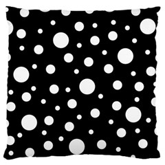 White On Black Polka Dot Pattern Large Cushion Case (two Sides) by LoolyElzayat