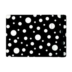 White On Black Polka Dot Pattern Apple Ipad Mini Flip Case by LoolyElzayat