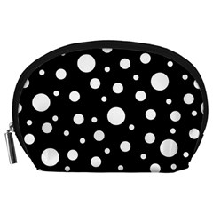 White On Black Polka Dot Pattern Accessory Pouches (large)