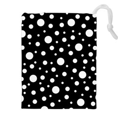 White On Black Polka Dot Pattern Drawstring Pouches (xxl) by LoolyElzayat