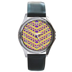 Flower Of Life Pattern 5 Round Metal Watch by Cveti