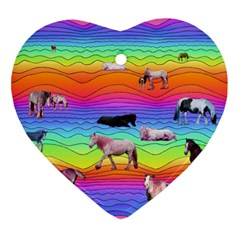 Horses In Rainbow Ornament (heart) by CosmicEsoteric