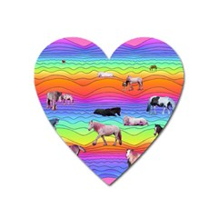 Horses In Rainbow Heart Magnet by CosmicEsoteric