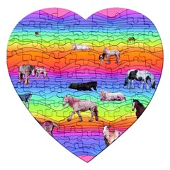 Horses In Rainbow Jigsaw Puzzle (heart) by CosmicEsoteric