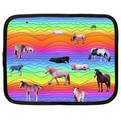 Horses In Rainbow Netbook Case (large) by CosmicEsoteric
