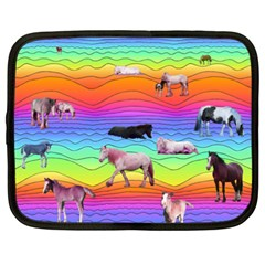 Horses In Rainbow Netbook Case (xxl)  by CosmicEsoteric