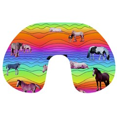 Horses In Rainbow Travel Neck Pillows by CosmicEsoteric