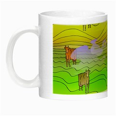 Cows And Clouds In The Green Fields Night Luminous Mugs by CosmicEsoteric