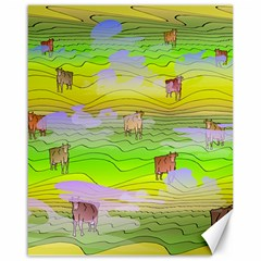 Cows And Clouds In The Green Fields Canvas 16  X 20   by CosmicEsoteric