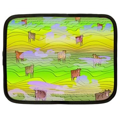 Cows And Clouds In The Green Fields Netbook Case (large) by CosmicEsoteric