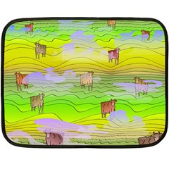 Cows And Clouds In The Green Fields Double Sided Fleece Blanket (mini)  by CosmicEsoteric