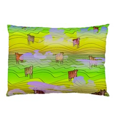 Cows And Clouds In The Green Fields Pillow Case (two Sides) by CosmicEsoteric
