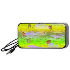 Cows And Clouds In The Green Fields Portable Speaker by CosmicEsoteric