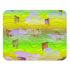 Cows And Clouds In The Green Fields Double Sided Flano Blanket (large)  by CosmicEsoteric