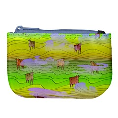 Cows And Clouds In The Green Fields Large Coin Purse by CosmicEsoteric
