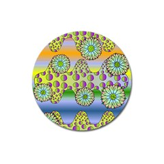 Amoeba Flowers Magnet 3  (round) by CosmicEsoteric