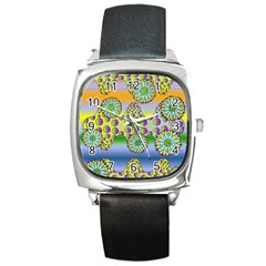 Amoeba Flowers Square Metal Watch by CosmicEsoteric