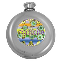 Amoeba Flowers Round Hip Flask (5 Oz) by CosmicEsoteric