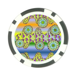 Amoeba Flowers Poker Chip Card Guard by CosmicEsoteric