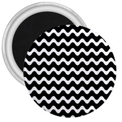 Wave Pattern Wavy Halftone 3  Magnets by Celenk