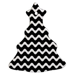 Wave Pattern Wavy Halftone Christmas Tree Ornament (two Sides) by Celenk