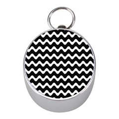 Wave Pattern Wavy Halftone Mini Silver Compasses by Celenk