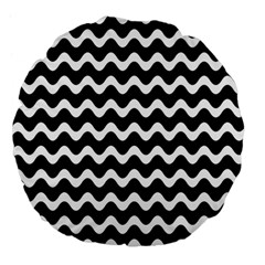 Wave Pattern Wavy Halftone Large 18  Premium Flano Round Cushions by Celenk