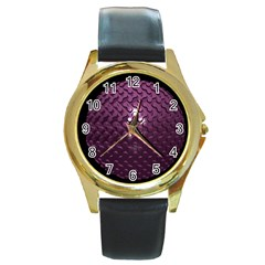 Sphere 3d Geometry Math Design Round Gold Metal Watch