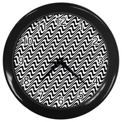 White Line Wave Black Pattern Wall Clocks (black)