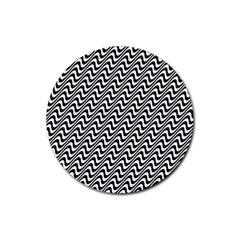White Line Wave Black Pattern Rubber Coaster (round)  by Celenk