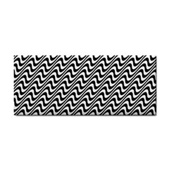 White Line Wave Black Pattern Cosmetic Storage Cases by Celenk