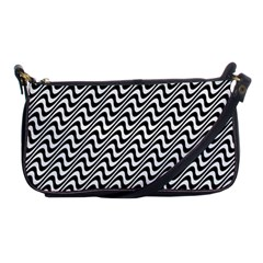 White Line Wave Black Pattern Shoulder Clutch Bags by Celenk
