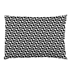 White Line Wave Black Pattern Pillow Case (two Sides)