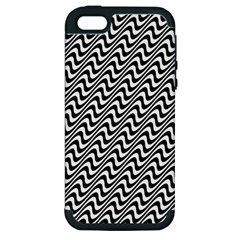 White Line Wave Black Pattern Apple Iphone 5 Hardshell Case (pc+silicone) by Celenk