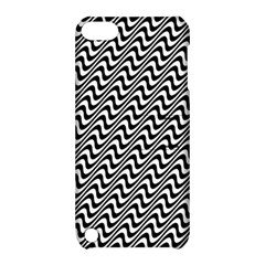 White Line Wave Black Pattern Apple Ipod Touch 5 Hardshell Case With Stand by Celenk