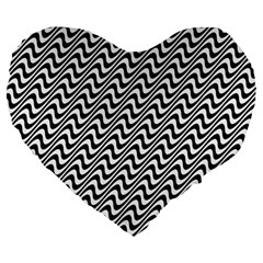 White Line Wave Black Pattern Large 19  Premium Flano Heart Shape Cushions by Celenk