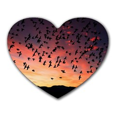 Sunset Dusk Silhouette Sky Birds Heart Mousepads