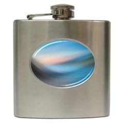 Wave Background Pattern Abstract Lines Light Hip Flask (6 Oz) by Celenk