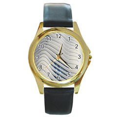 Aqua Building Wave Round Gold Metal Watch