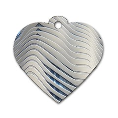 Aqua Building Wave Dog Tag Heart (one Side) by Celenk