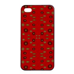 Brown Circle Pattern On Red Apple Iphone 4/4s Seamless Case (black) by BrightVibesDesign