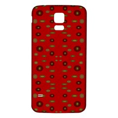 Brown Circle Pattern On Red Samsung Galaxy S5 Back Case (white) by BrightVibesDesign