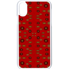 Brown Circle Pattern On Red Apple Iphone X Seamless Case (white) by BrightVibesDesign