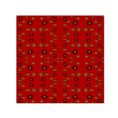 Brown Circle Pattern On Red Small Satin Scarf (square) by BrightVibesDesign