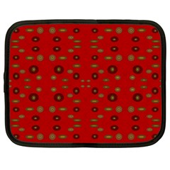 Brown Circle Pattern On Red Netbook Case (xxl)  by BrightVibesDesign