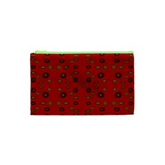 Brown Circle Pattern On Red Cosmetic Bag (xs) by BrightVibesDesign