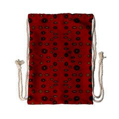 Brown Circle Pattern On Red Drawstring Bag (small) by BrightVibesDesign