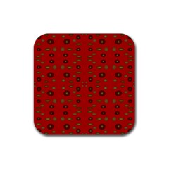 Brown Circle Pattern On Red Rubber Square Coaster (4 Pack)  by BrightVibesDesign